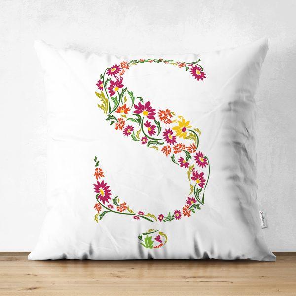 Beyaz Zemin Yaprak Temalı Ş Harfi Özel Tasarım Modern Suet Yastık Kırlent Kılıfı Realhomes