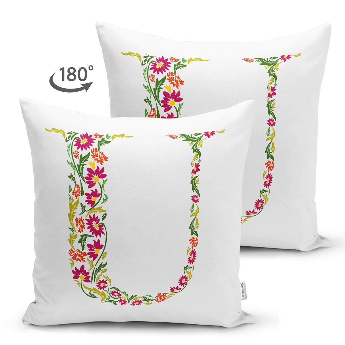 Beyaz Zemin Yaprak Temalı U Harfi Özel Tasarım Modern Suet Yastık Kırlent Kılıfı Realhomes