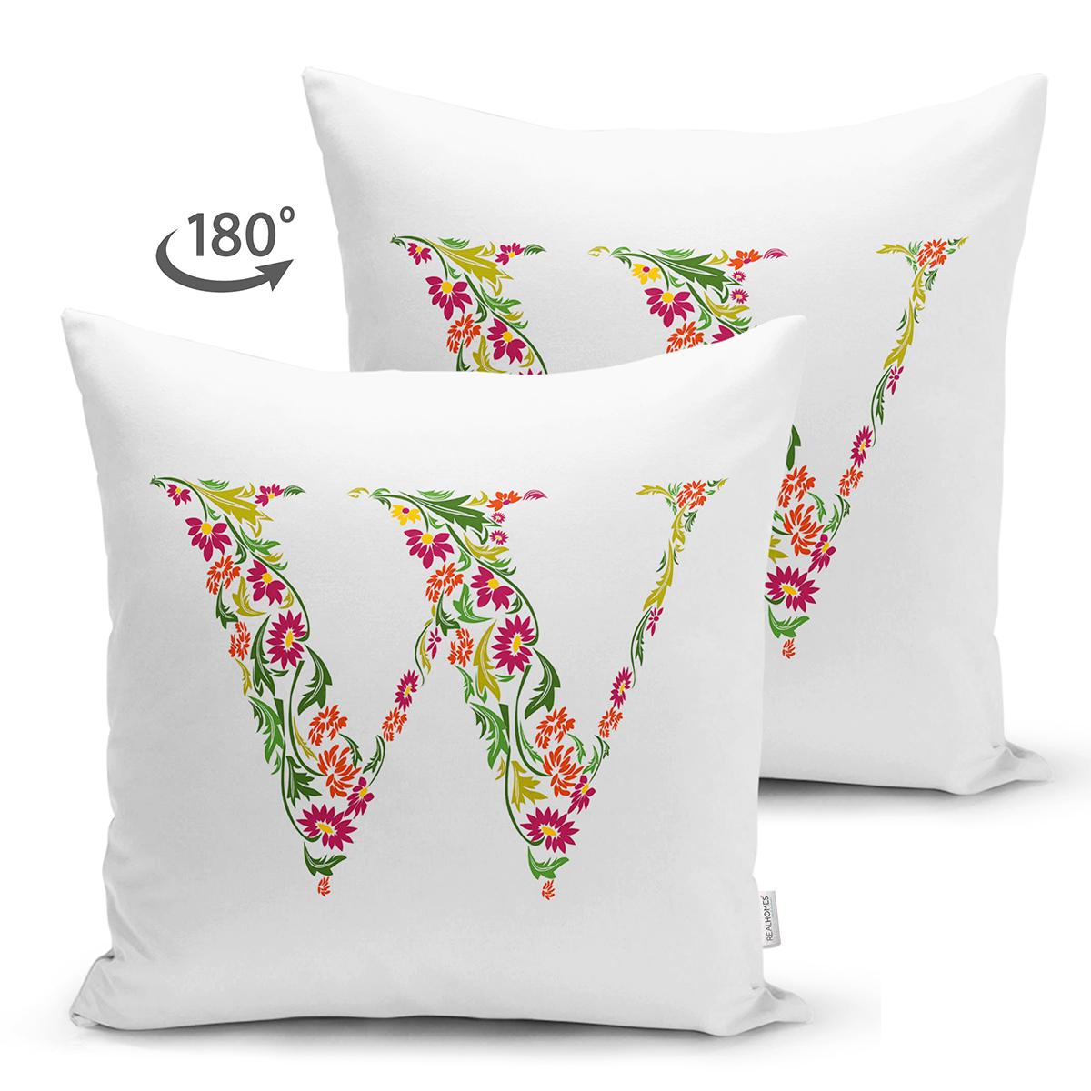 Beyaz Zemin Yaprak Temalı W Harfi Özel Tasarım Modern Suet Yastık Kırlent Kılıfı Realhomes