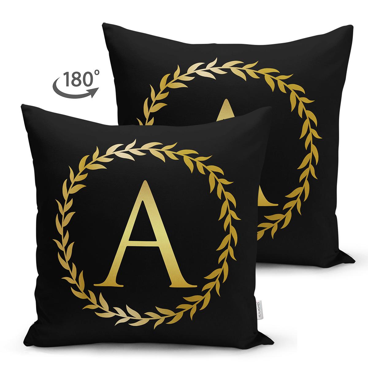 Siyah Zemin Gold Yaprak Çerçeveli A Harfi Özel Tasarım Modern Suet Yastık Kırlent Kılıfı Realhomes