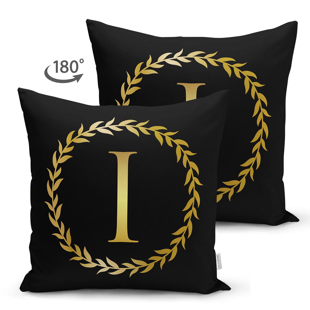 Siyah Zemin Gold Yaprak Çerçeveli I Harfi Özel Tasarım Modern Suet Yastık Kırlent Kılıfı Realhomes