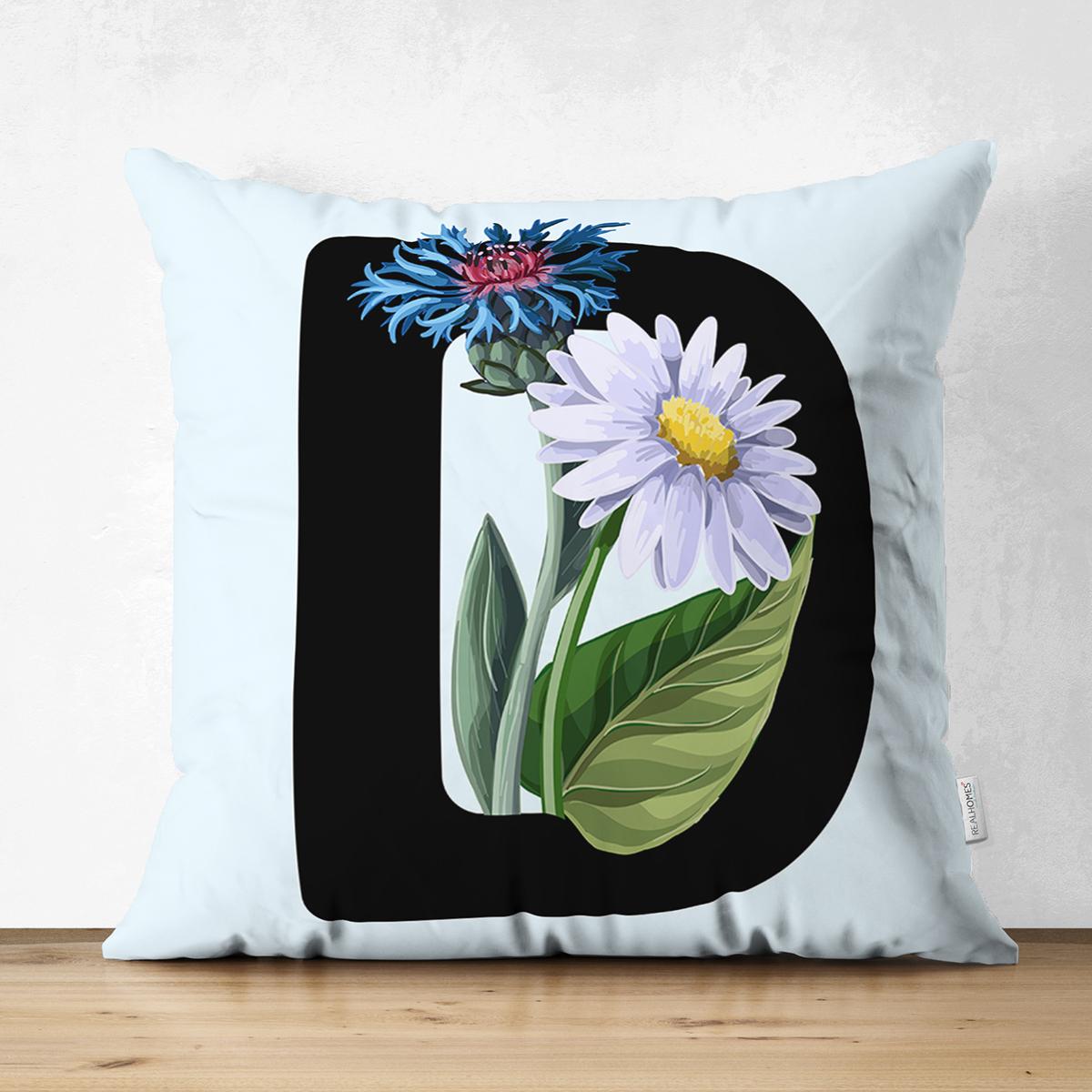 Mavi Zemin Çiçek Desenli Siyah D Harfi Özel Tasarım Modern Suet Yastık Kırlent Kılıfı Realhomes