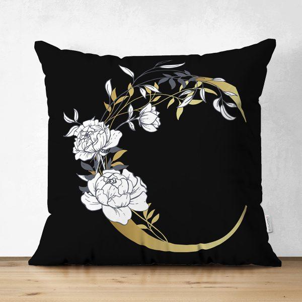 Siyah Zemin Beyaz Gül Motifli Gold İ Harfi Özel Tasarım Modern Suet Yastık Kırlent Kılıfı Realhomes