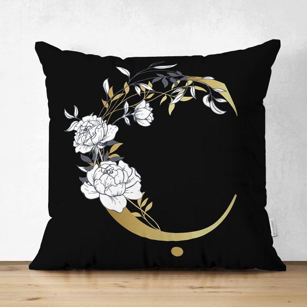 Siyah Zemin Beyaz Gül Motifli Gold B Harfi Özel Tasarım Modern Suet Yastık Kırlent Kılıfı Realhomes