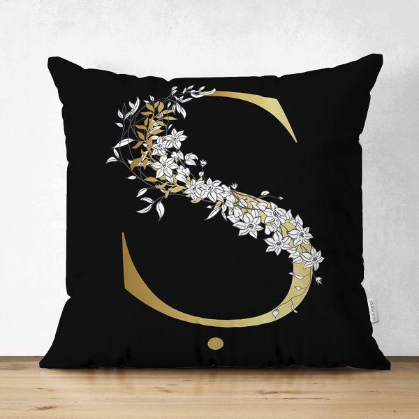 Siyah Zemin Beyaz Gül Motifli Gold & Harfi Özel Tasarım Modern Suet Yastık Kırlent Kılıfı Realhomes