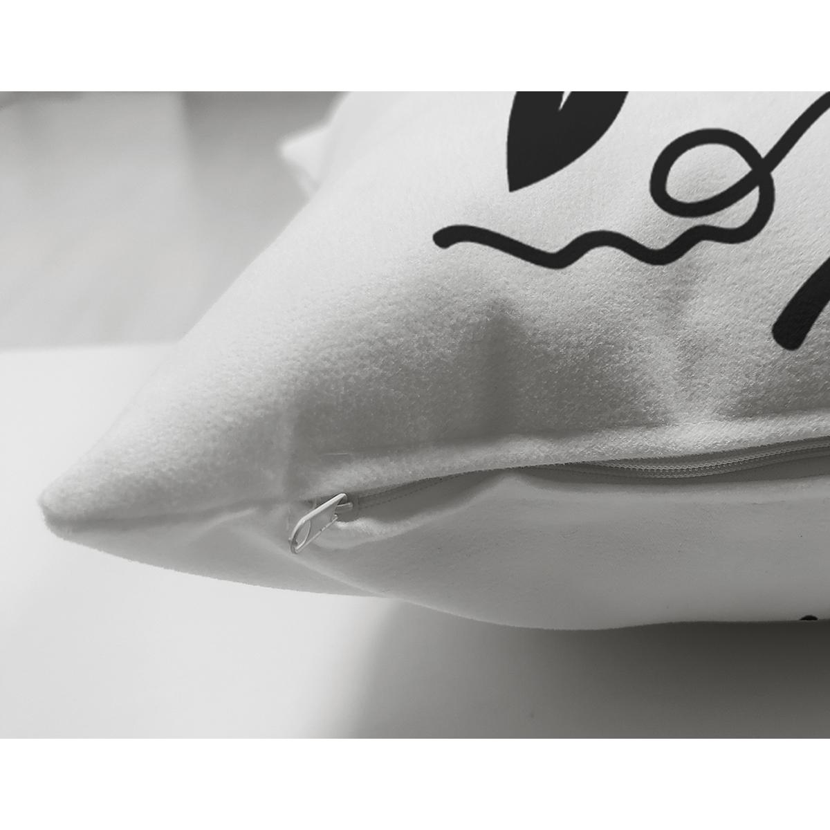 Siyah Beyaz Çelenkli F Harfi Özel Tasarım Modern Suet Yastık Kırlent Kılıfı Realhomes