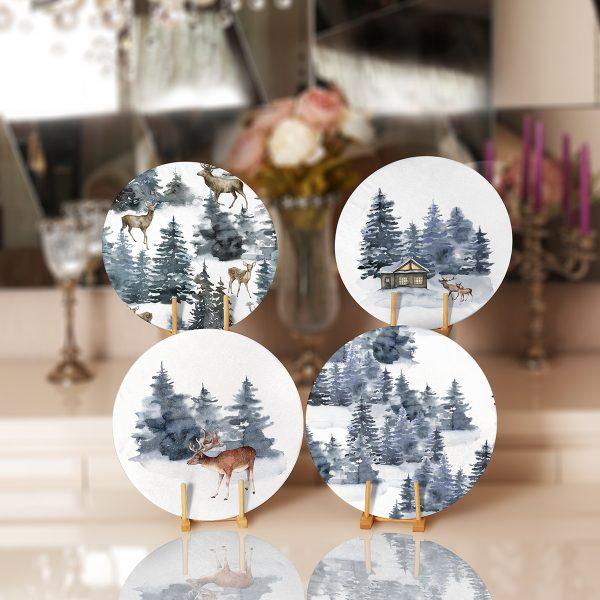 4'lü Özel Tasarım Geyikler & Çam Ağacı Motifli Servis Altlığı & Supla Realhomes