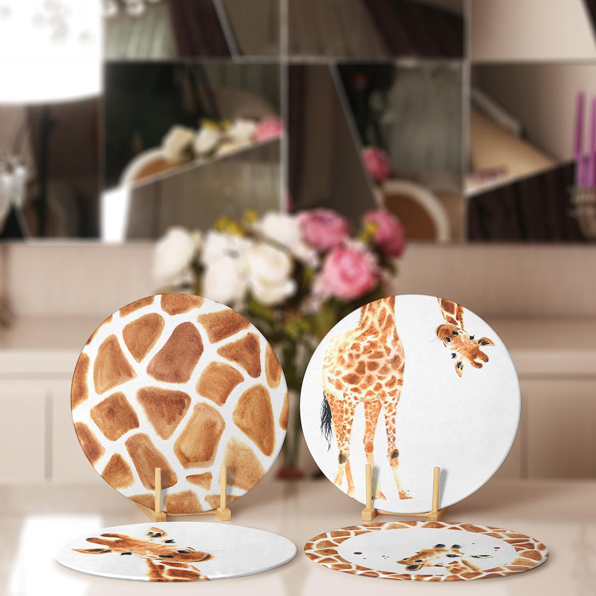 4'lü Özel Çizim Zürafa Tasarımlı Servis Altlığı & Supla Realhomes