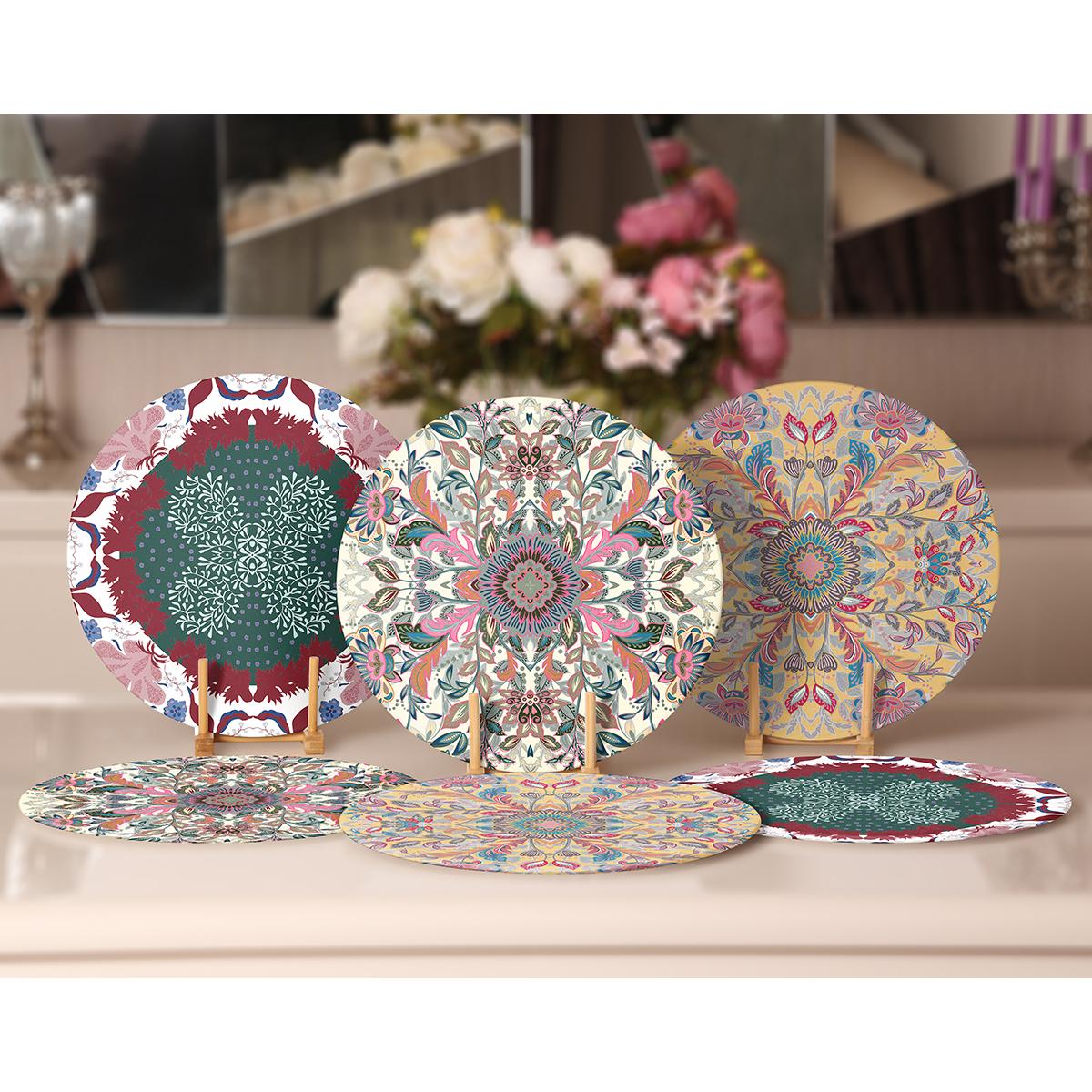 6'lı Çiçek Mandala Tasarımlı Servis Altlığı & Supla Realhomes