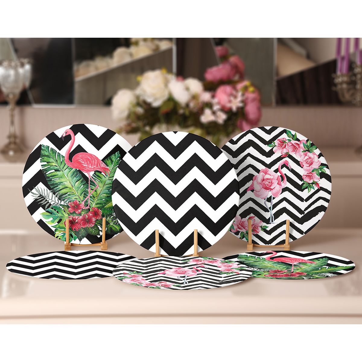 6'lı Siyah Beyaz Zigzag Zeminli Flamingo Tasarımlı Servis Altlığı & Supla Realhomes