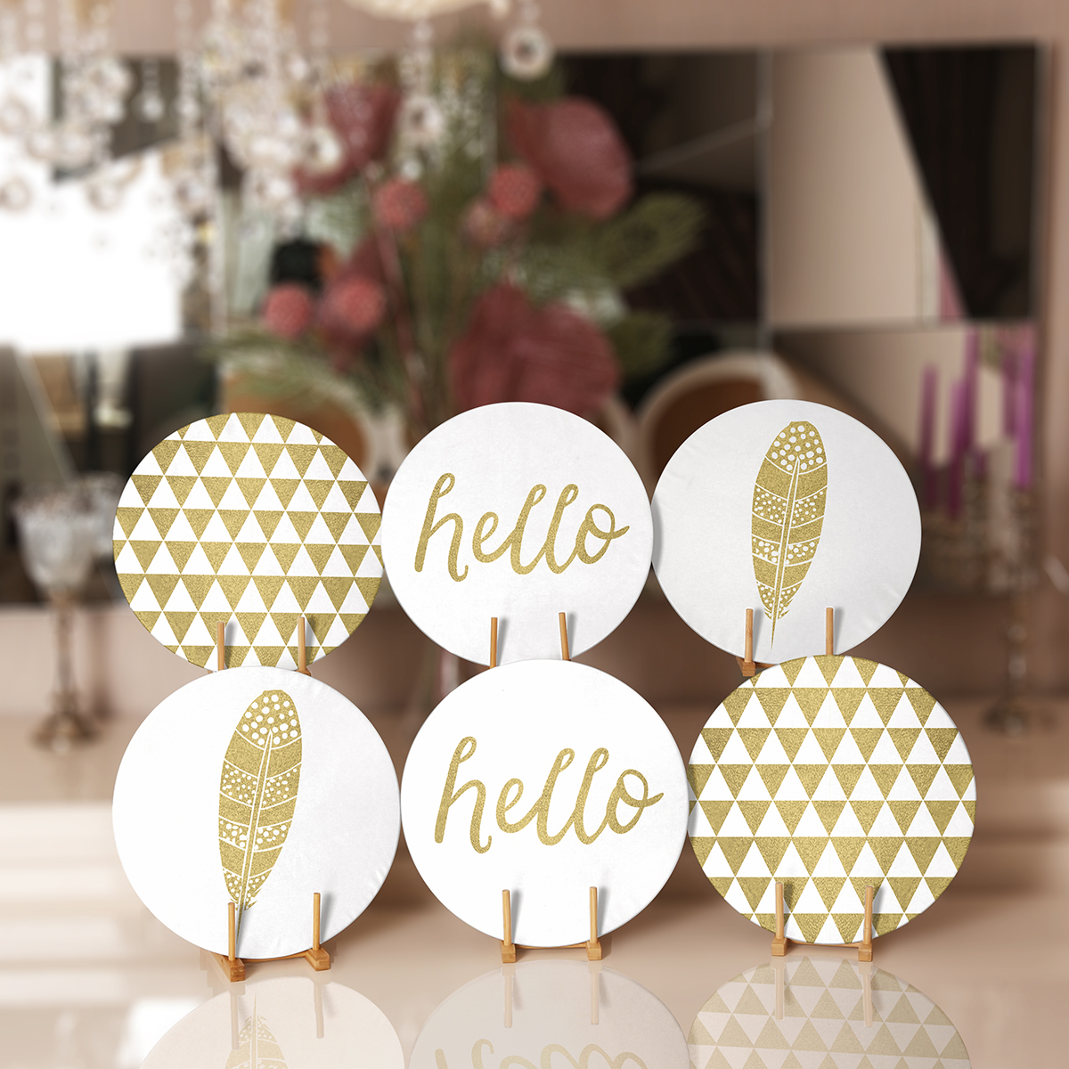 6'lı Gold Desenli Hello Tasarımlı Servis Altlığı & Supla Realhomes