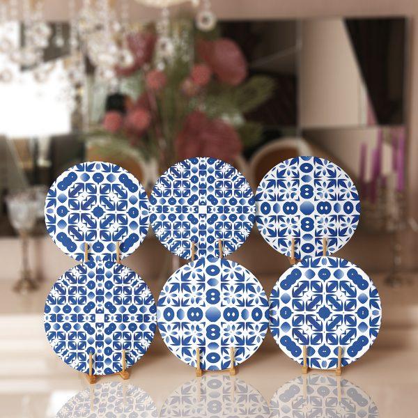 6'lı Beyaz Zeminde Mavi Geometrik Çizimli Servis Altlığı & Supla Realhomes