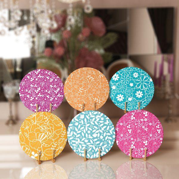 6'lı Renkli Çiçekler Özel Tasarımlı Servis Altlığı & Supla Realhomes
