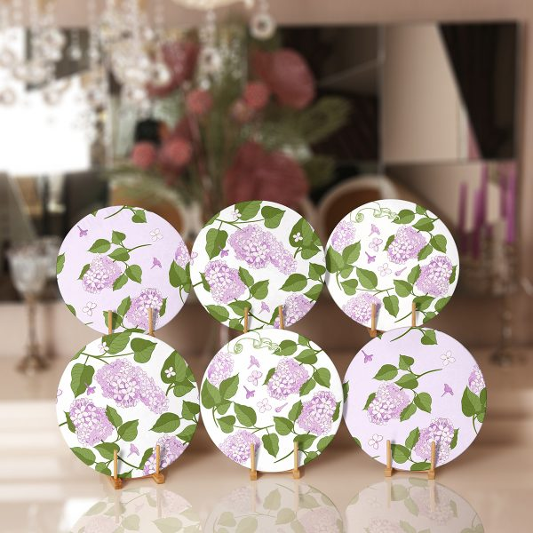 6'lı Mor Renkli Ortanca Çiçeği Motifli Servis Altlığı & Supla Realhomes