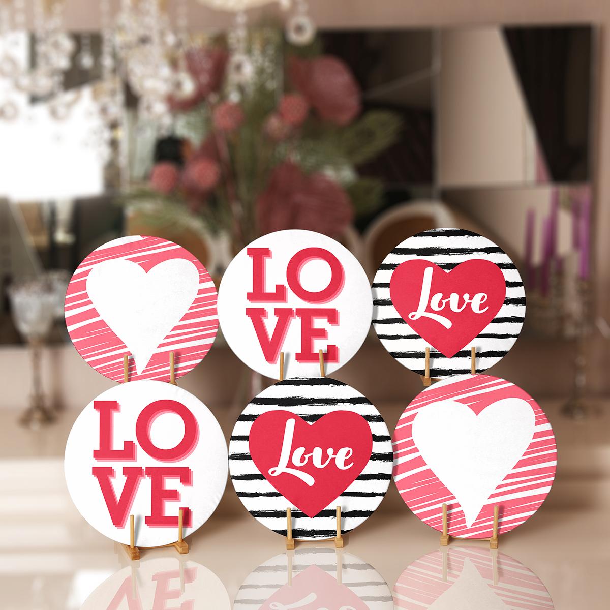 6'lı Love Yazılı Özel Tasarım Sevgili Temalı Servis Altlığı & Supla Realhomes