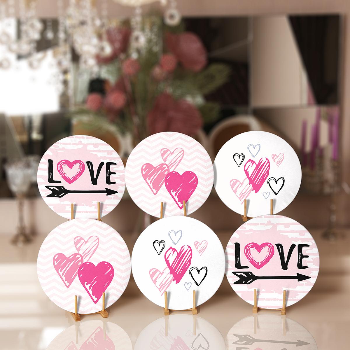6'lı Pembe Özel Tasarım Sevgililer Günü Temalı Servis Altlığı & Supla Realhomes