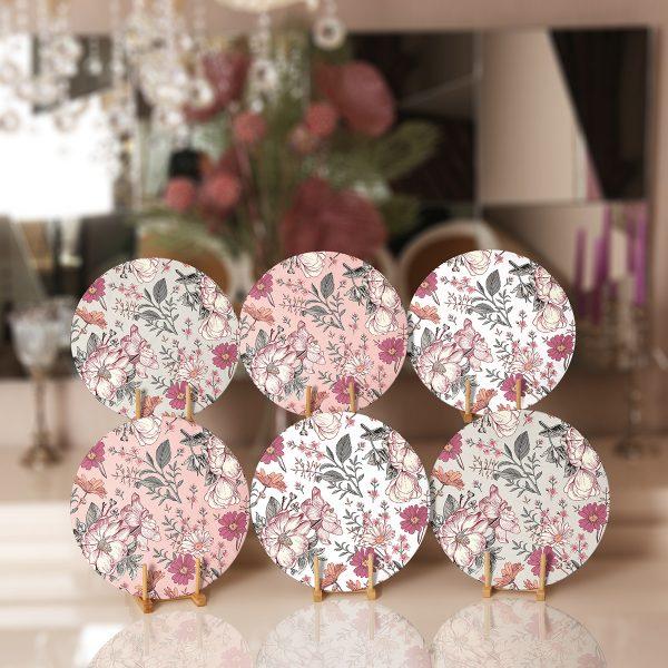 6'lı Pastel Zemin Kurumuş Çiçek Çizimli Servis Altlığı & Supla Realhomes
