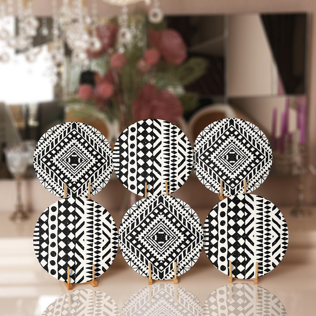 6'lı Siyah Beyaz Etnik Geometrik Çizimli Servis Altlığı & Supla Realhomes