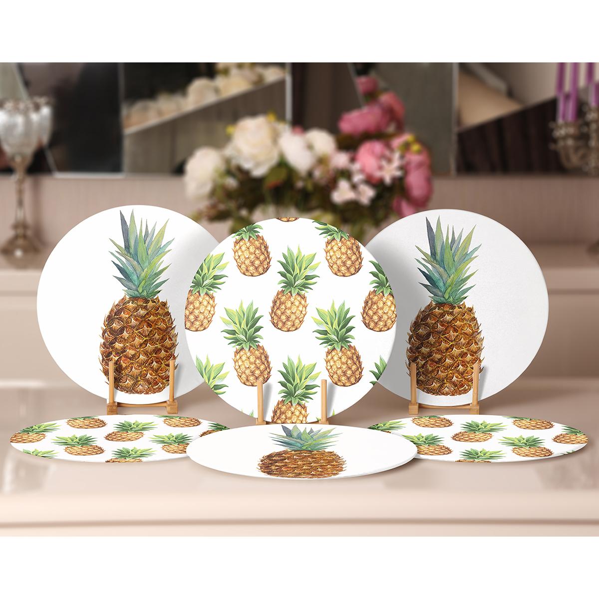 6'lı Beyaz Zeminde Ananas Desenli Servis Altlığı & Supla Realhomes