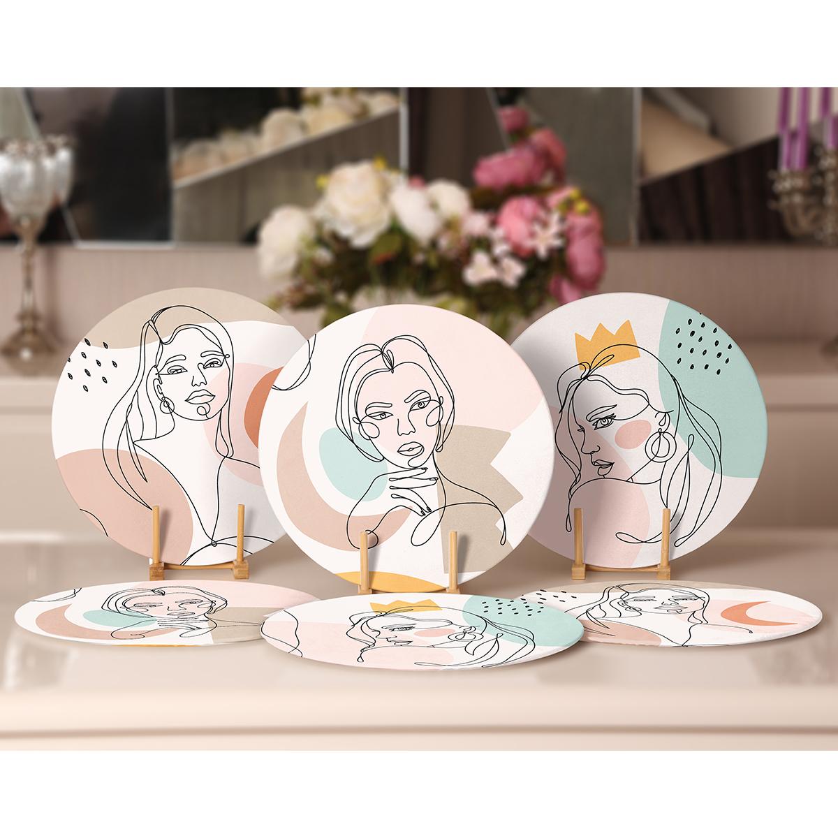 6'lı Onedraw Kadın Silüet Çizimli Özel Tasarım Servis Altlığı & Supla Realhomes
