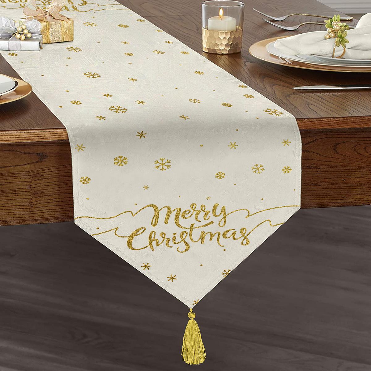 Realhomes Beyaz Zeminli Gold Detaylı Kartaneli Merry Christmas Yazılı Özel Tasarım Püsküllü Şönil Üçgen Runner Realhomes