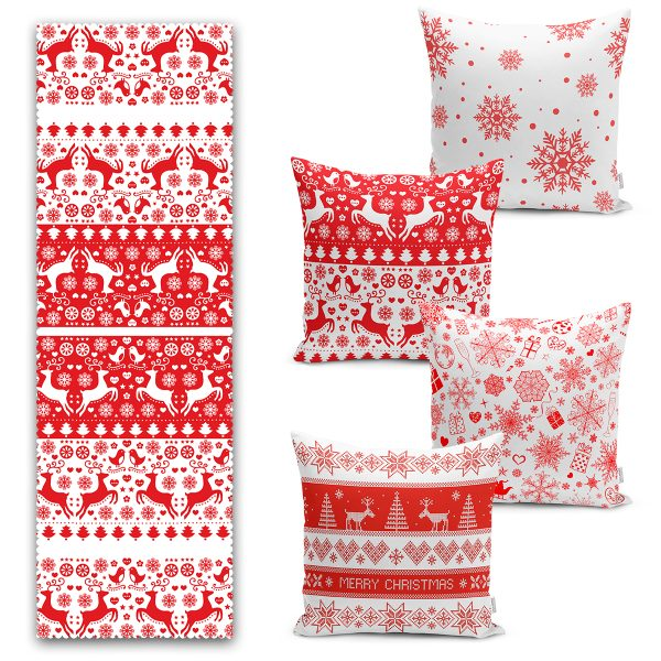 Kırmızı Beyaz Geyik Desenli Yılbaşı Motifli 4 Kırlent Kılıfı ve 1 Runner Seti Realhomes
