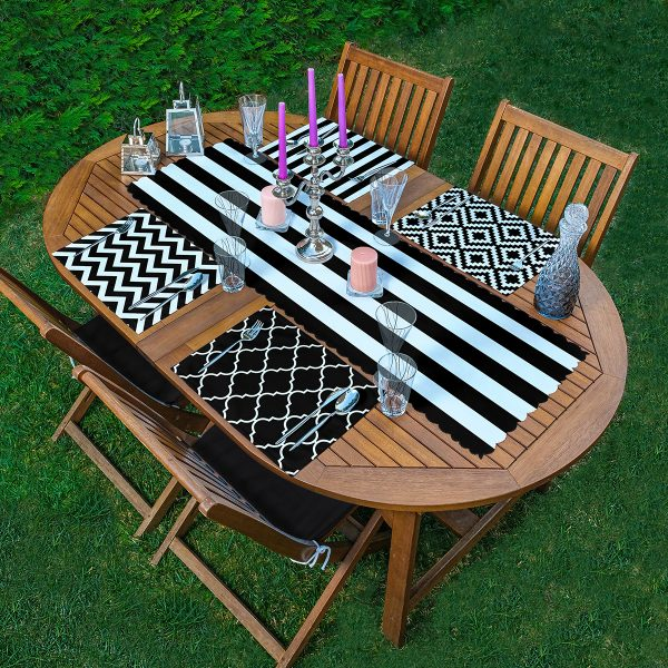 4+1 Siyah Beyaz Geometrik Çizimli Amerikan Servis & Runner Seti Realhomes