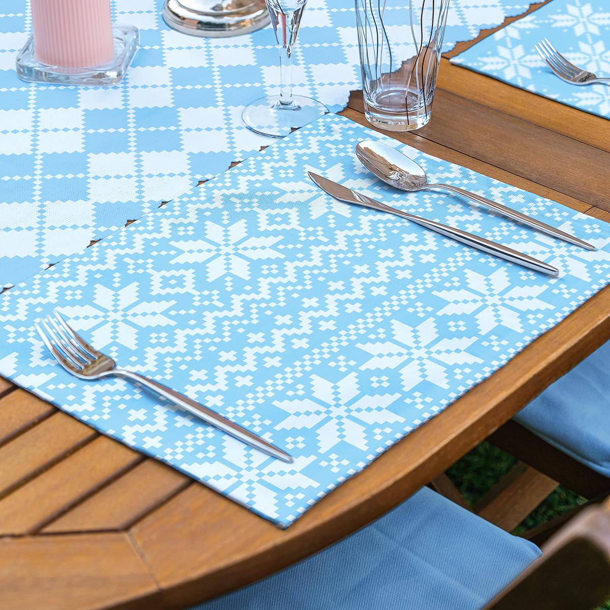 4+1 Mavi Geometrik Baklama Desen Motifli Amerikan Servis & Runner Seti Realhomes